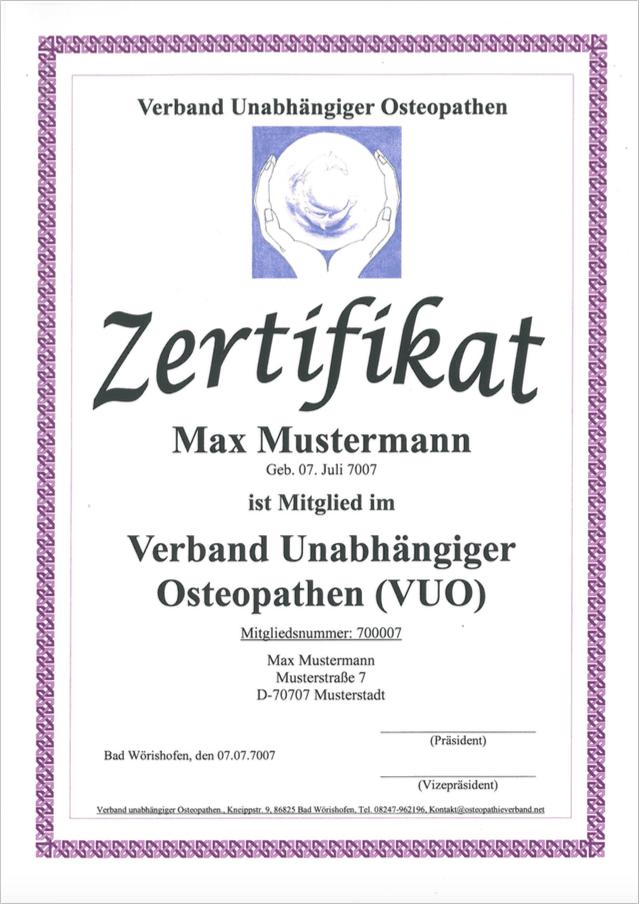 Verband Unabhängiger Osteopathen VUO Mitglied Zertifikat für Heilpraktiker mit osteopathischer Ausbildung und einem Nachweis von 1350 Ausbildungsstunden